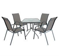 מערכת ישיבה הכוללת שולחן מרובע עם מסגרת מתכת ו-4 כסאות בריפוד בד רשת CAMP IN