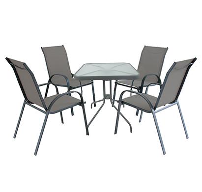 מערכת ישיבה לגינה או למרפסת הכוללת שולחן מרובע ו-4 כסאות