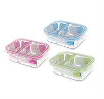 סט 3 תבניות מזכוכית לאחסון מזון DUE BY GLASS CLOC במגוון צבעים FOOD APPEAL