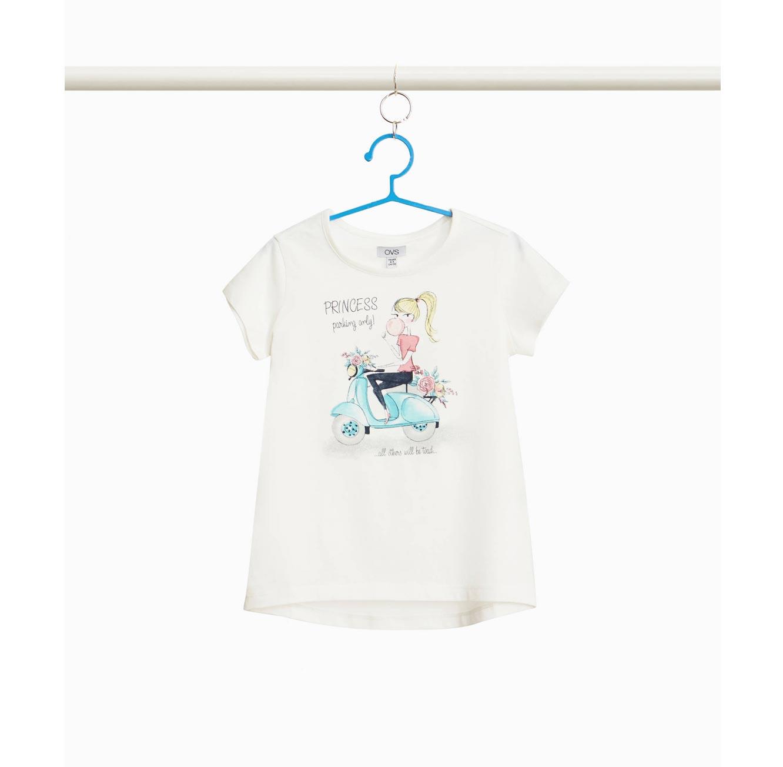 חולצת טי שרט OVS לילדות - לבן עם הדפס