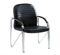 כיסא אורח בריפוד דמוי עור בשילוב ניקל עם ידיות דגם גלעד
