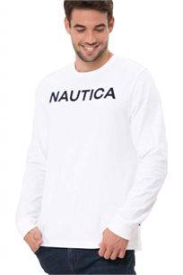 חולצת טי שרט ארוכה Nautica עם צווארון עגול לגברים דגם 93901V1BW בצבע לבן