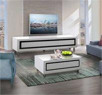 מערכת מזנון ושולחן דגם סהר בצבע לבן עם גימור אפוקסי בעיצוב מודרני LEONARDO - משלוח חינם