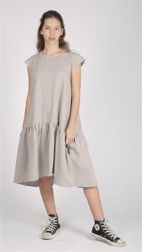 MAYAYA שמלת מתן נמוכה (2-14 שנים) אפור חלק עם פאטצ בגב