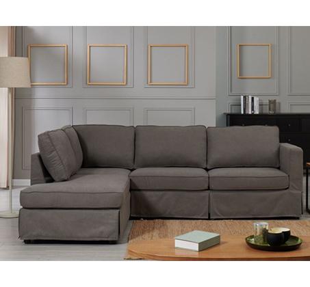 ספה פינתית דגם פריטי מבד אפור עם כיסוי נשלף