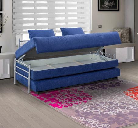 ספת ילדים ונוער על קל איכותית הנפתחת למיטה זוגית נעימה למגע כולל ארגז מצעים LEONARDO   - תמונה 2