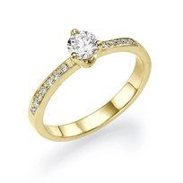"""טבעת אירוסין זהב """"אמה"""" בשיבוץ 0.50 קראט"""