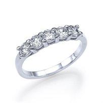 טבעת אירוסין זהב לבן 5 יהלומים במשקל 1.01 קראט