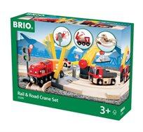 סט משחק מסילת רכבת ומנוף