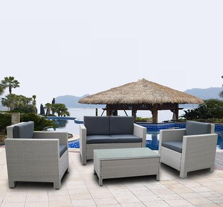 מערכת ישיבה מרופדת לגינה או למרפסת בצבע אפור דגם קנקון