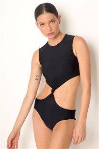 בגד ים שלם בגזרת קאט אאוט עם פתחים במותניים בצבע שחור