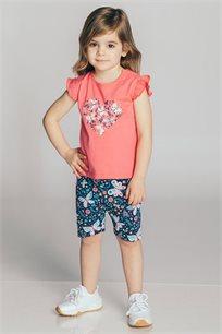 חליפת טריקו בהדפס לב ופרפרים לבנות Kiwi בצבע ורוד/כחול