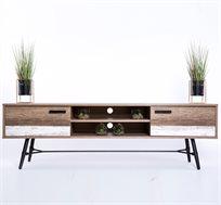 שידת טלוויזיה מעוצבת בסגנון וינטג עתיק בגווני עץ משומש עם תאי איחסון