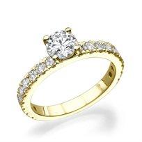 """טבעת יהלומים זהב צהוב """"בר"""" בשיבוץ 1.65 קראט"""