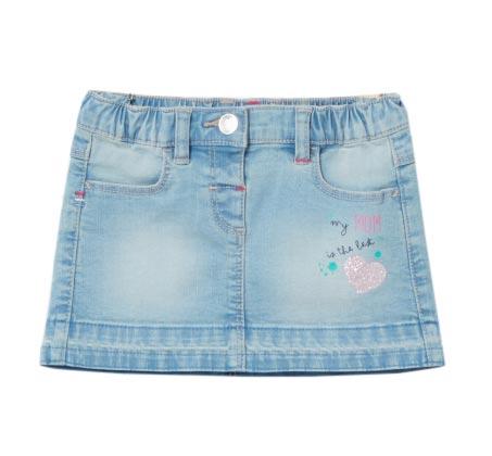 חצאית ג'ינס סטרצ'ית לתינוקות עם הדפס נוצץ - תכלת
