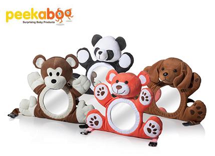 סנסציוני תנו מבט! בובת דובי יפהפיה עם מראה, המוצבת מול התינוק בלול או ברכב DQ-55