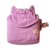מגבת רחצה עם קשירה לצוואר סגול חתול - מיננה