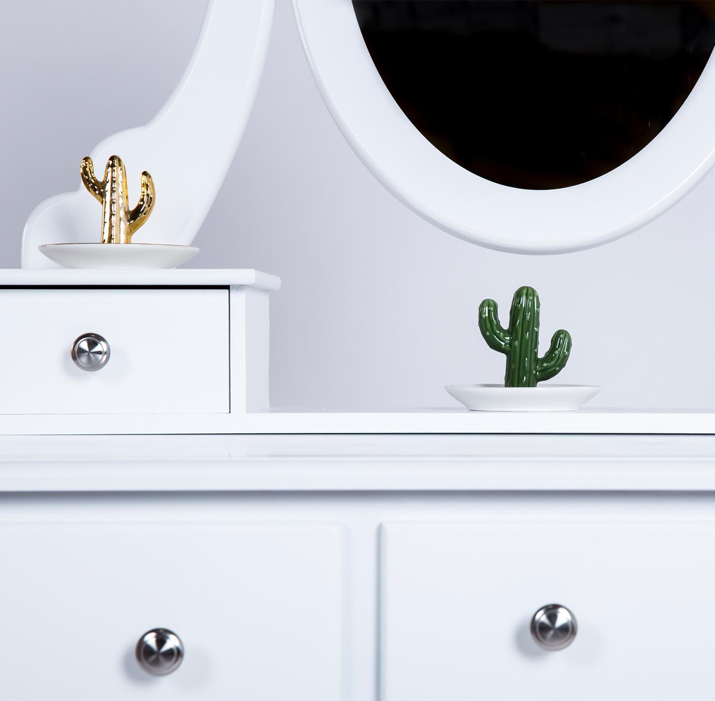 שולחן איפור בסגנון פרובנס לחדרי שינה כולל מראה ו-5 מגירות מלווה בשרפרף תואם - תמונה 3