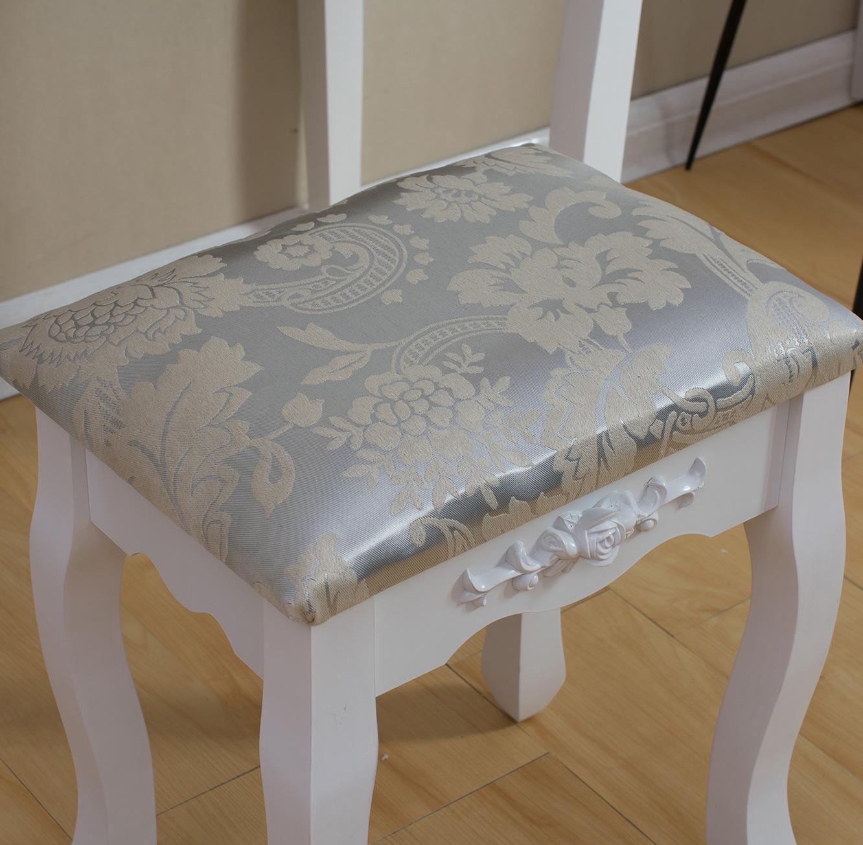 שולחן איפור בסגנון פרובנס לחדרי שינה כולל מראה ו-5 מגירות מלווה בשרפרף תואם - תמונה 6