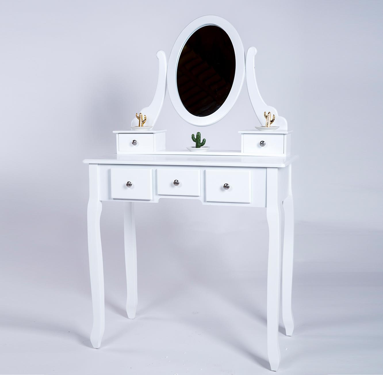 שידת איפור 5 מגירות בעיצוב פרובנס כולל מראה וכיסא תואם