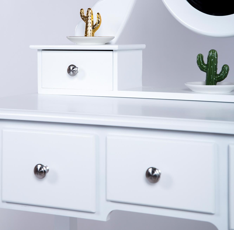 שולחן איפור בסגנון פרובנס לחדרי שינה כולל מראה ו-5 מגירות מלווה בשרפרף תואם - תמונה 5