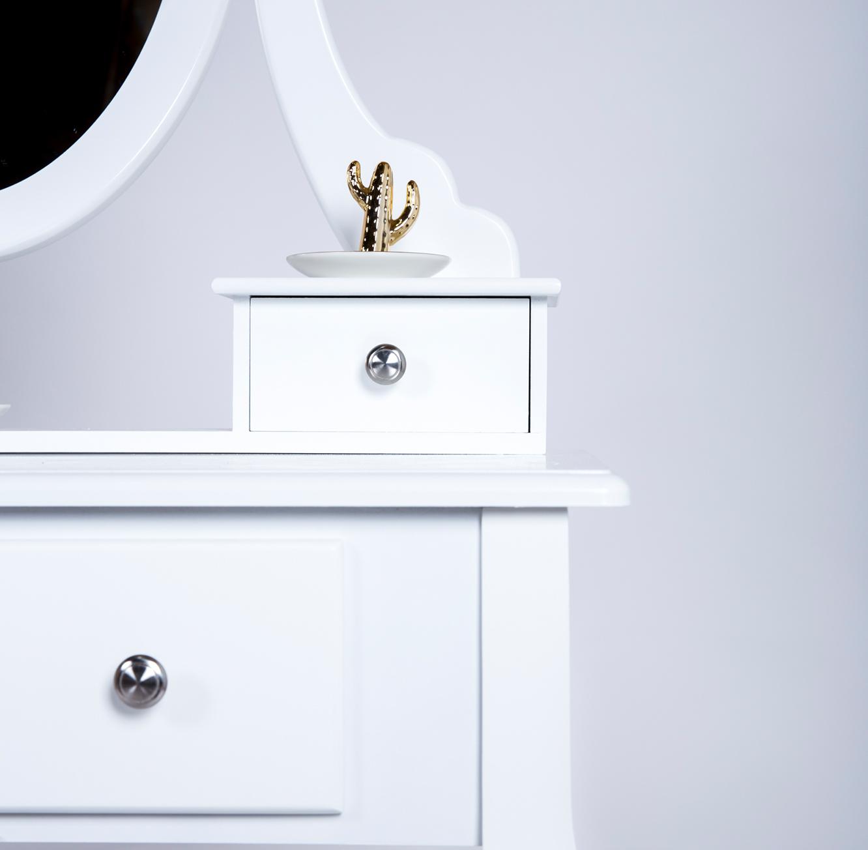 שולחן איפור בסגנון פרובנס לחדרי שינה כולל מראה ו-5 מגירות מלווה בשרפרף תואם - תמונה 4