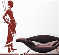 מדבקת קיר - אפריקה, דמות אישה אפריקאית להדבקה על קירות הבית כתוספת עיצוב אלגנטית ומרהיבה