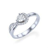 """טבעת אירוסין זהב לבן """"ויקי"""" 0.51 קראט יהלומים"""