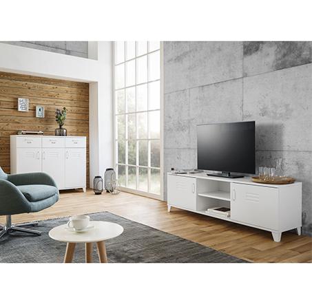מזנון לטלוויזיה בעיצוב מודרני עם ידיות מתכת דגם FACTORY - משלוח חינם - תמונה 2