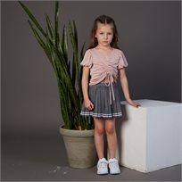 חולצת ORO לילדות (מידות 2-8 שנים) ורוד קשירות