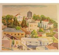 """מסגרת מתנה! """"רחובות שנות ה- 30"""" - ציורה של תג'ר ציונה, ליטוגרפיה בחתימה אישית בגודל 65X50 ס""""מ"""