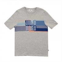 BOSS בוס טישרט (16-6 שנים) - אפור כיתוב כחול