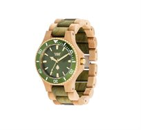 שעון עץ איטלקי Date MB Beige Army Green