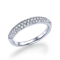 """טבעת חצי נישואין """"פאריס"""" 0.60 קראט בשיבוץ פאווה"""