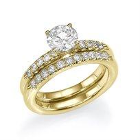 טבעת אירוסין זהב צהוב סט-ניקי במשקל 1.01 קראט