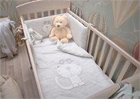 סט מצעים 3 חלקים למיטת תינוק 100% כותנה ג'רסי - אפור