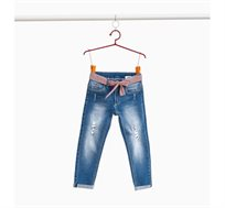 """מכנסי ג'ינס באפקט """"דהוי"""" סטרץ עם קרעים עדינים לילדות בצבע כחול"""