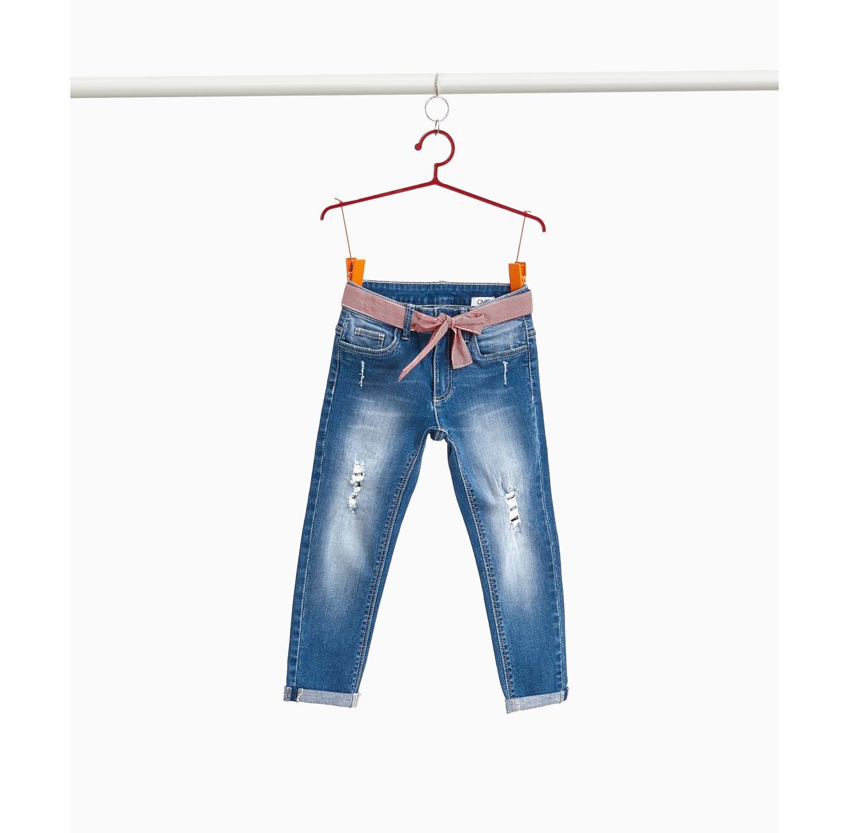 """מכנסי ג'ינס באפקט """"דהוי"""" OVS לילדות - כחול"""