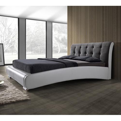 מיטה זוגית מעוצבת בריפוד דמוי עור משולב בד דגם SHERILL