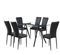 פינת אוכל מעוצבת כוללת 6 כיסאות מרופדים