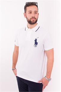 חולצת פולו לבנה CUSTOM FIT לוגו גדול כחול POLO RALPH LAUREN