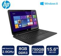 """נייד HP Pavilion דגם 15-F111 עם מסך מגע """"15.6, מעבד 4 ליבות, זכרון 8GB, כונן קשיח 750GB ו-WIN8"""