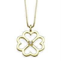 """שרשרת זהב"""" פרח לבבות"""" בשיבוץ יהלום"""