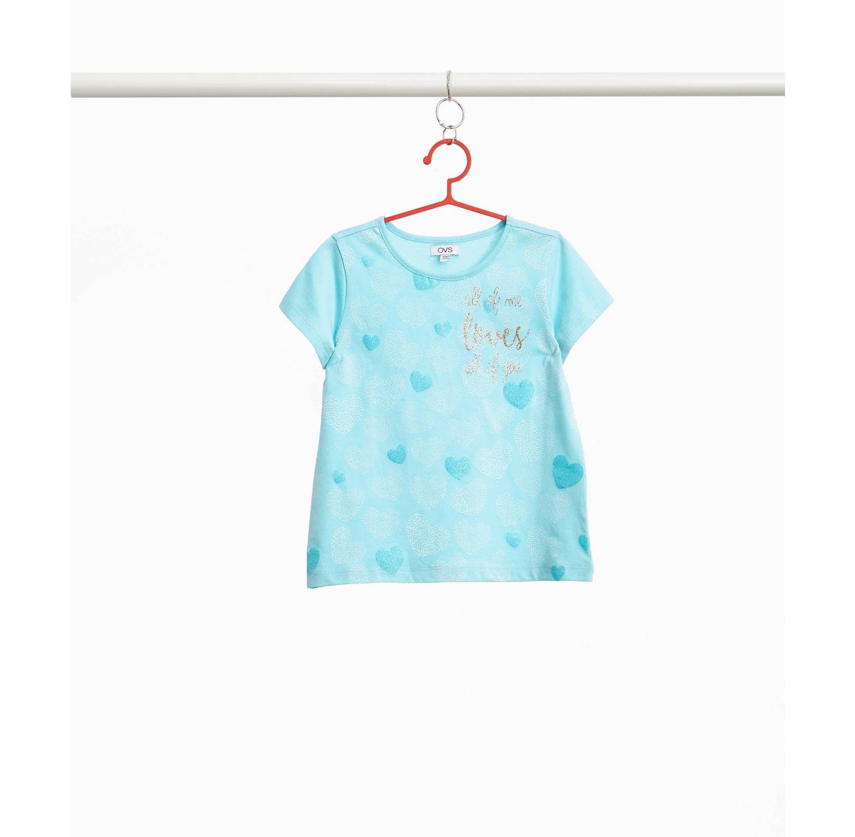 חולצת טי שרט OVS לילדות - תכלת עם הדפס