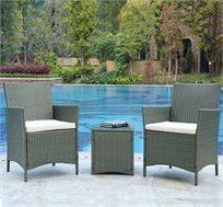 סט ישיבה 3 חלקים דמוי ראטן הכולל 2 כורסאות עם משענת גבוהה ושולחן עם פלטת זכוכית מבית HomeTown