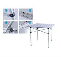 שולחן אלומניום קל משקל, מתקפל בקלות לתוך תיק נשיאה קטן ומתאים ל-4 אנשים לסוכה