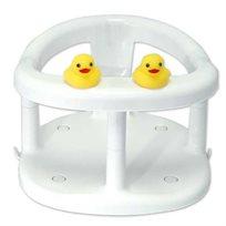 כיסא טבעת אמבטיה לתינוק עם כריות ואקום וברווזי גומי - לבן