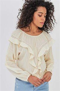 חולצת כותנה לנשים בעיטור מלמלה Promod - בז'