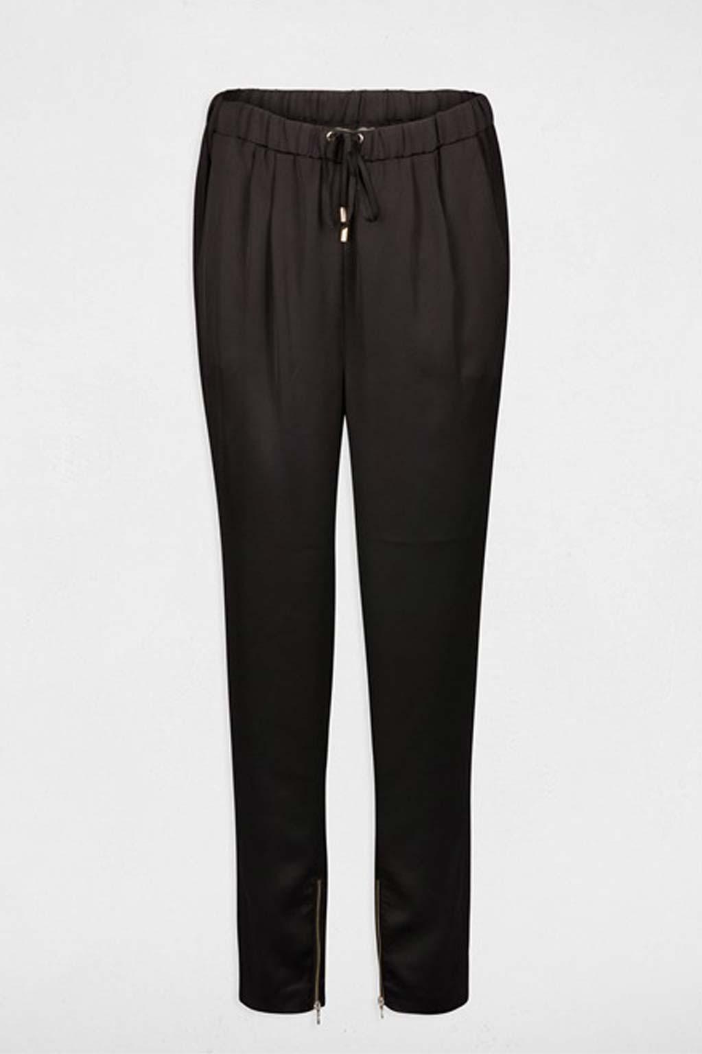 מכנסי בד אלגנטיים לנשים MORGAN עם סיומת רוכסן בקרסול - שחור