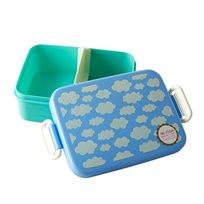 קופסת אוכל עם חלוקה - עננים כחול - Rice